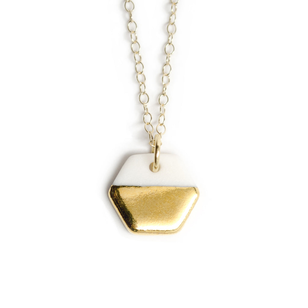 tiny gold hexagon necklace - ASH Jewelry Studio - 1