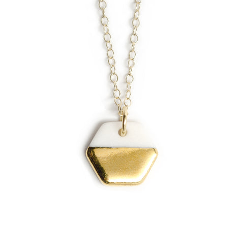tiny gold hexagon necklace