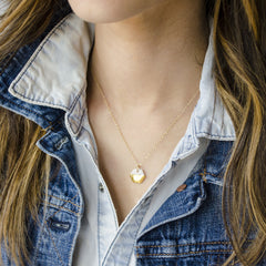 tiny gold hexagon necklace - ASH Jewelry Studio - 4