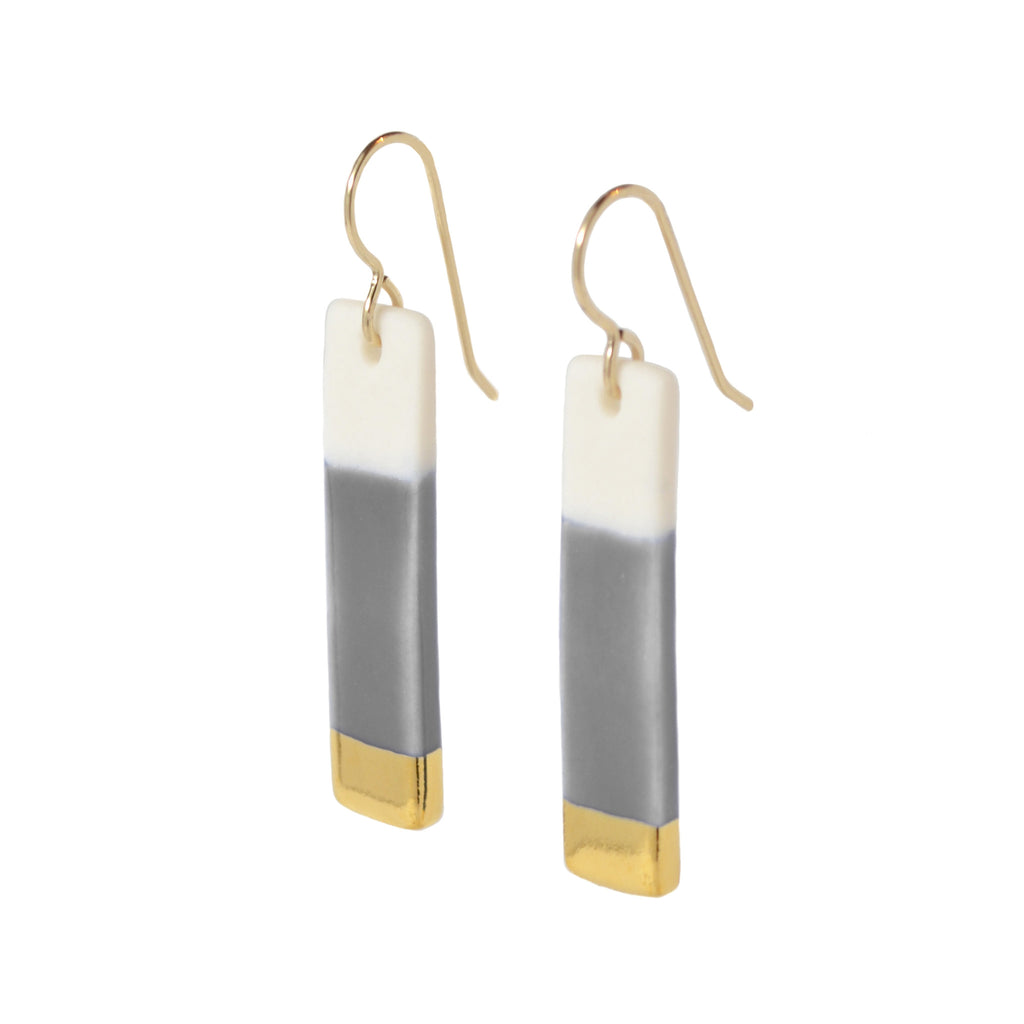 bar earrings in gray - ASH Jewelry Studio - 1