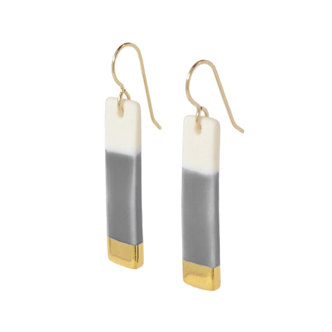 bar earrings in gray