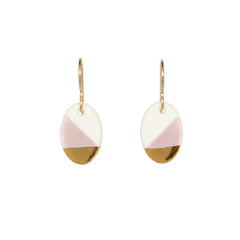 small oval dangle earrings in pink - ASH Jewelry Studio - 2