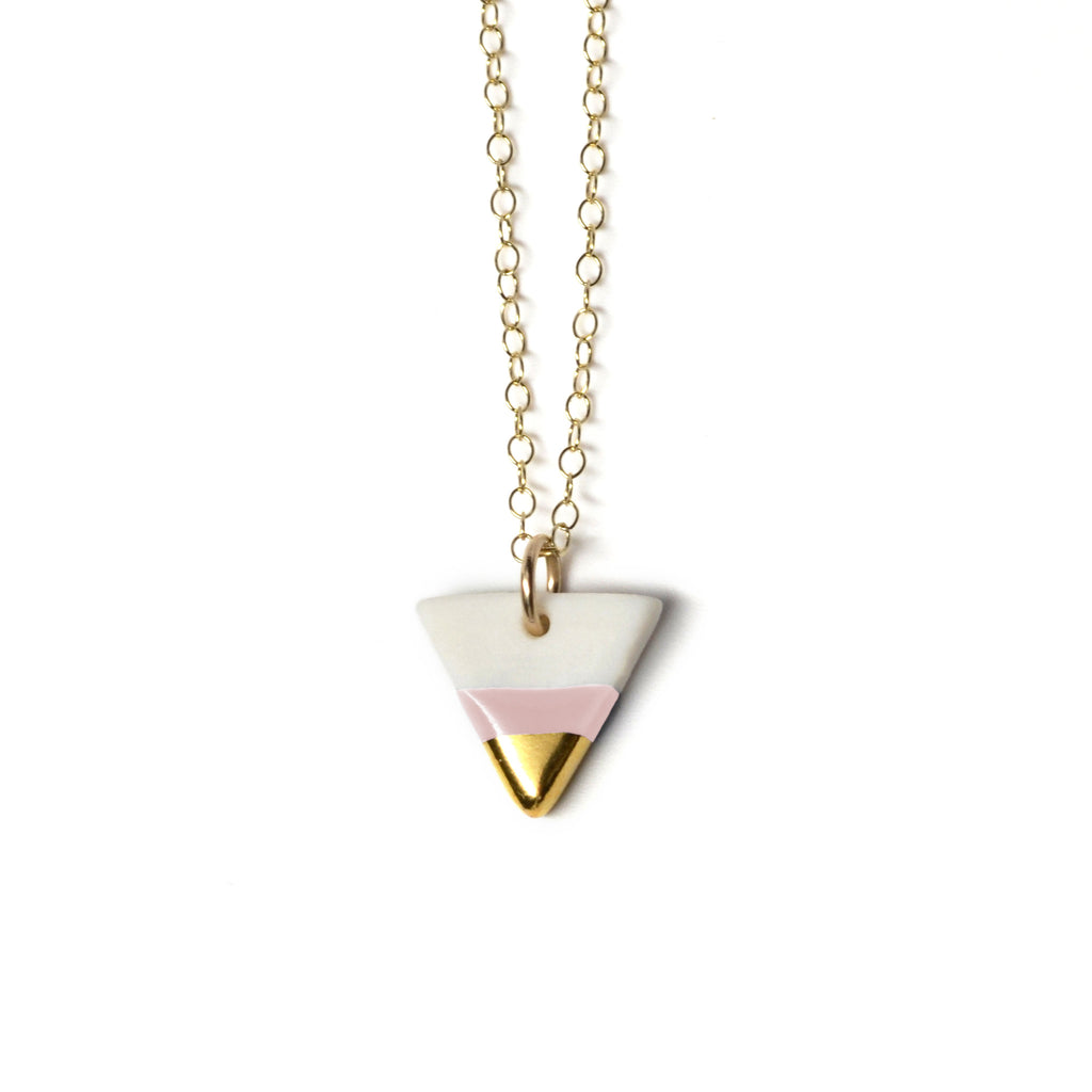petite pink triangle necklace - ASH Jewelry Studio - 1