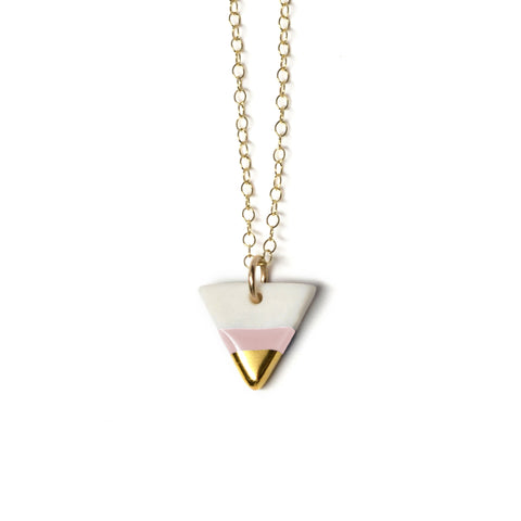 petite pink triangle necklace