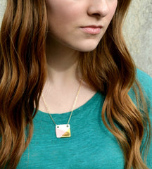 square necklace in pink and gold - ASH Jewelry Studio - 4