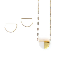semi earrings, deco necklace set - ASH Jewelry Studio - 1