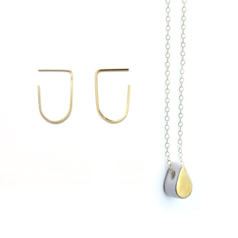 arc earring, droplet necklace set