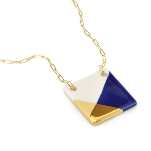 blue and gold square necklace