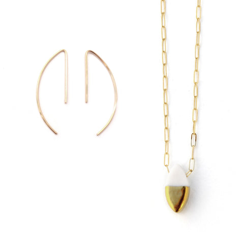 curve earrings, ellipse necklace set