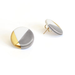modern circle studs in gray - ASH Jewelry Studio - 1