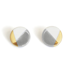 modern circle studs in gray - ASH Jewelry Studio - 2