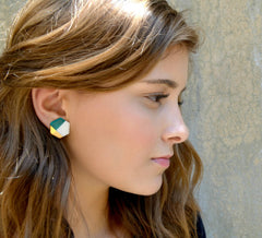 modern hexagon studs in teal - ASH Jewelry Studio - 3