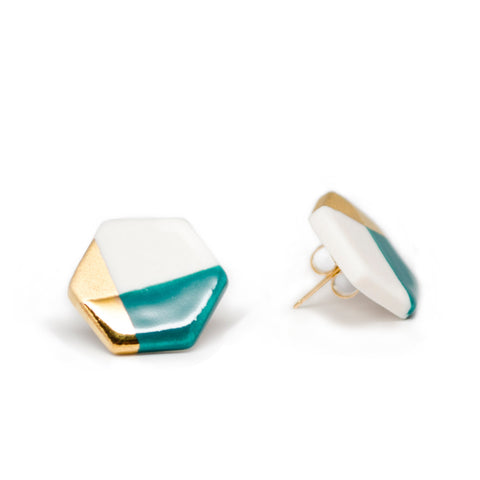modern hexagon studs in teal