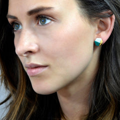 petite hexagon studs in teal - ASH Jewelry Studio - 3