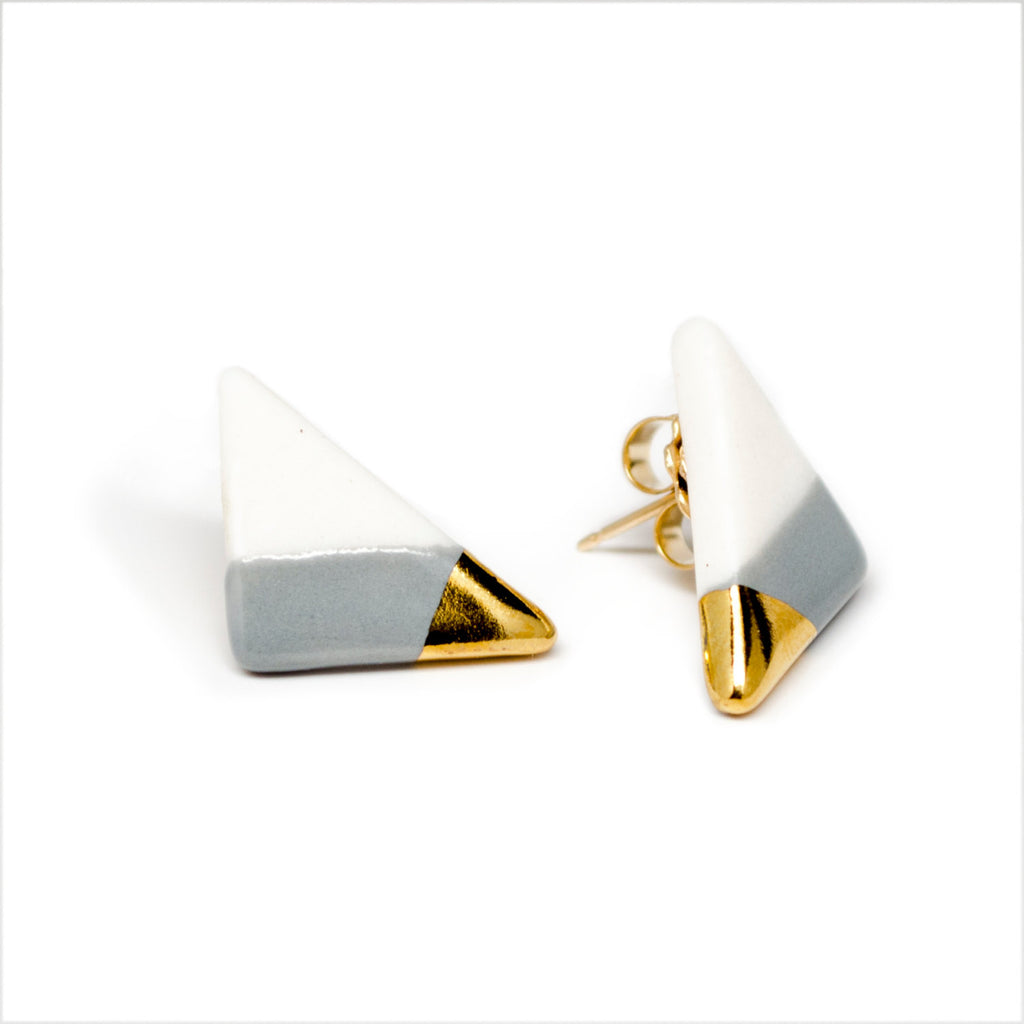 vertical triangle studs in gray - ASH Jewelry Studio - 1
