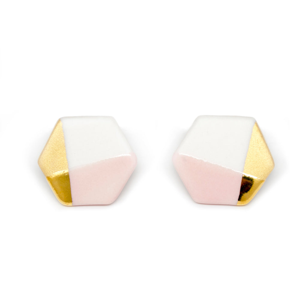 modern hexagon studs in pink - ASH Jewelry Studio - 1