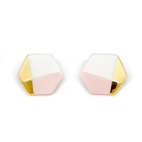 modern hexagon studs in pink