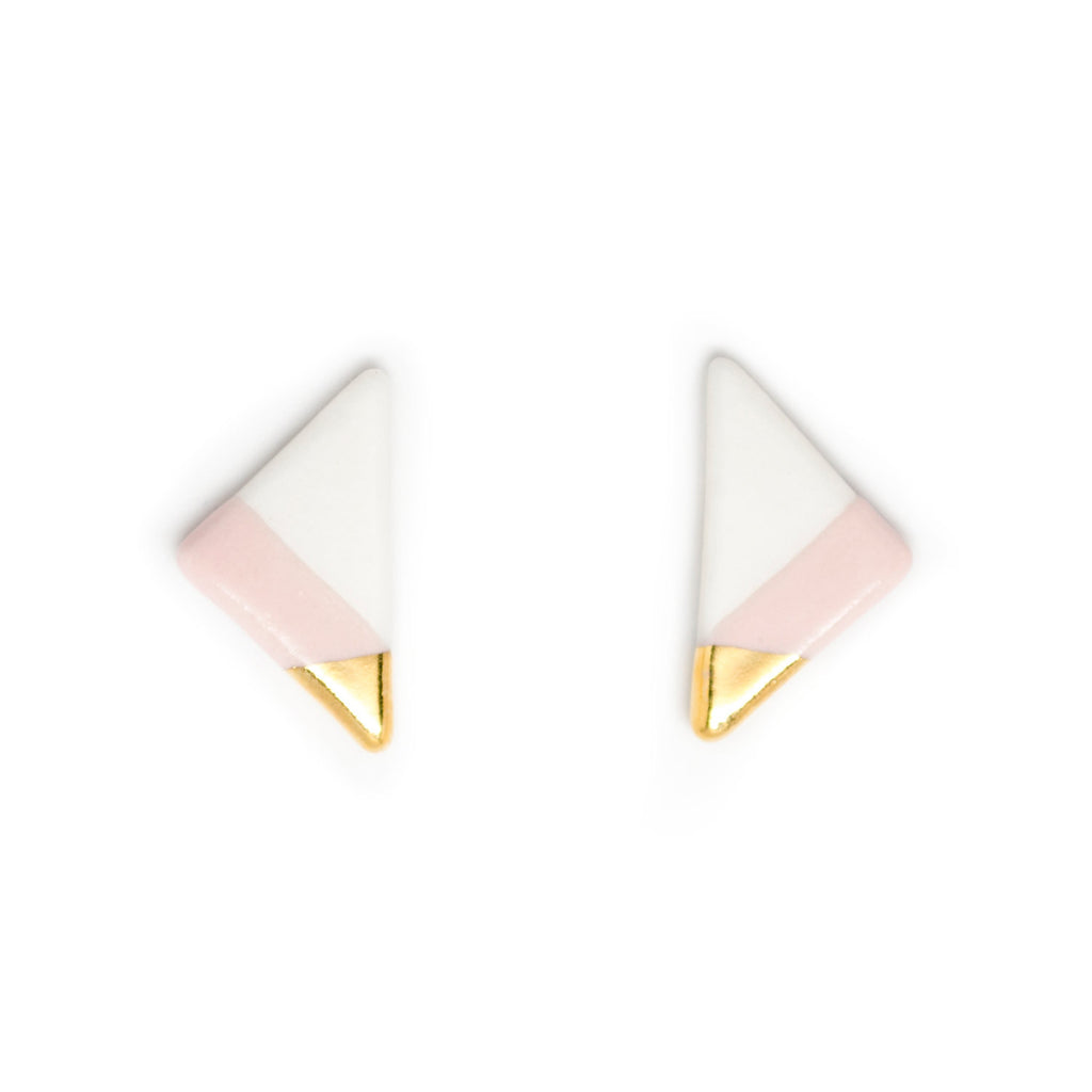 vertical triangle studs in pink - ASH Jewelry Studio - 1