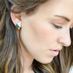 vertical triangle studs in teal - ASH Jewelry Studio - 3