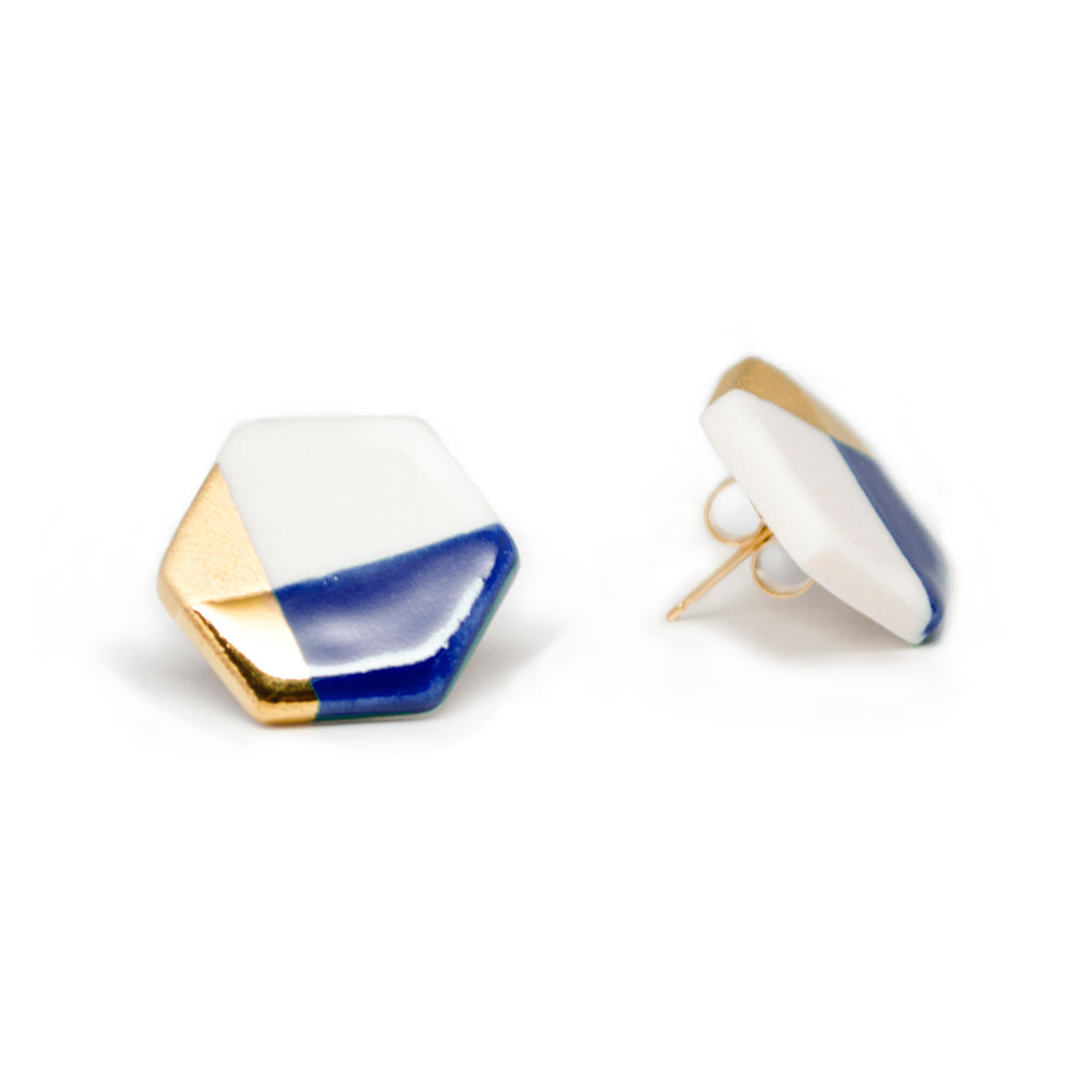 modern hexagon studs in blue - ASH Jewelry Studio - 1