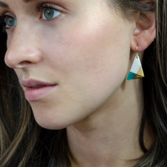 teal triangle dangle earrings - ASH Jewelry Studio - 3
