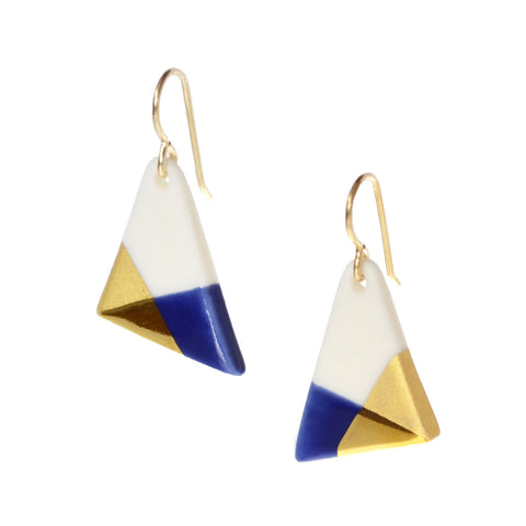 blue triangle dangle earrings