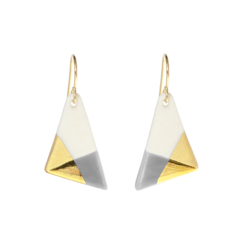 triangle dangle earrings in gray - ASH Jewelry Studio - 1