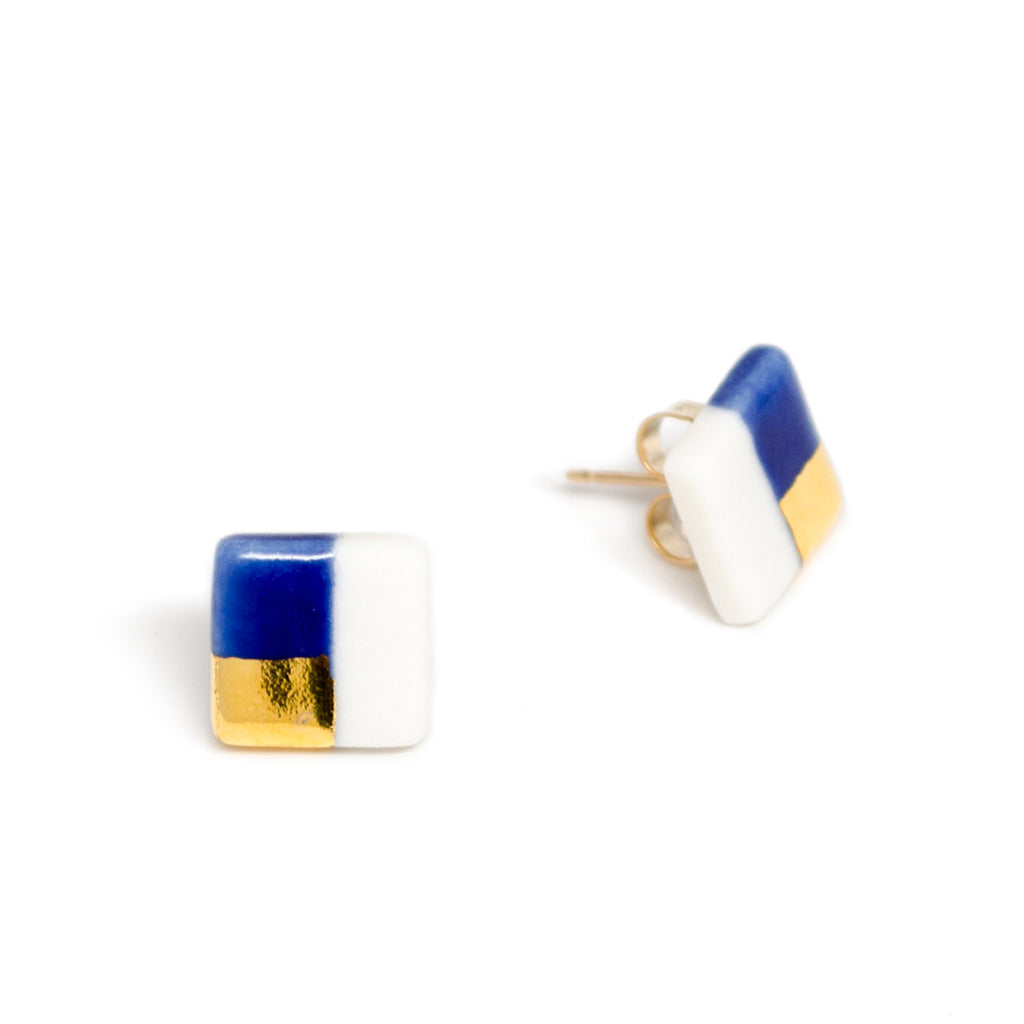 petite blue square studs - ASH Jewelry Studio - 1