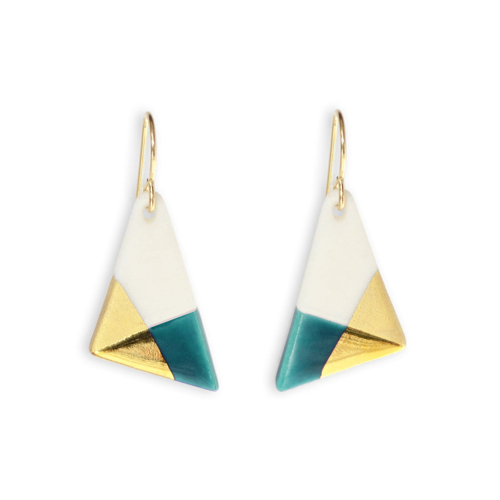 teal triangle dangle earrings - ASH Jewelry Studio - 1