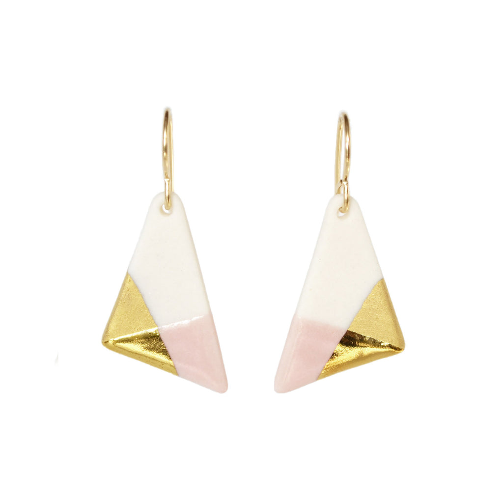 triangle dangle earrings in pink - ASH Jewelry Studio - 1