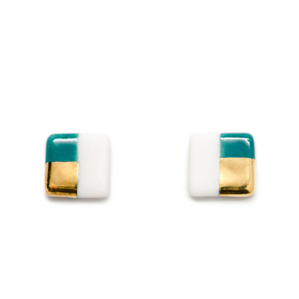 petite teal square studs - ASH Jewelry Studio - 1