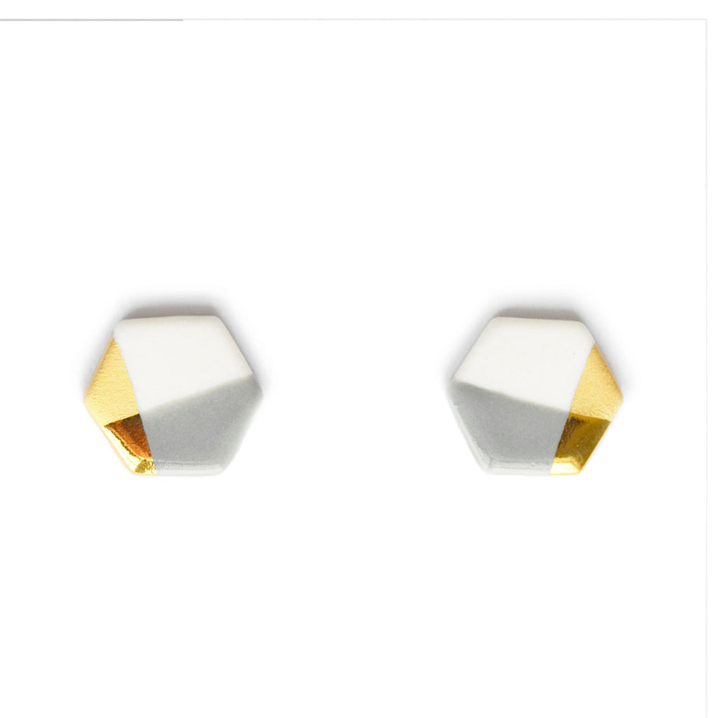 petite hexagon studs in gray - ASH Jewelry Studio - 1