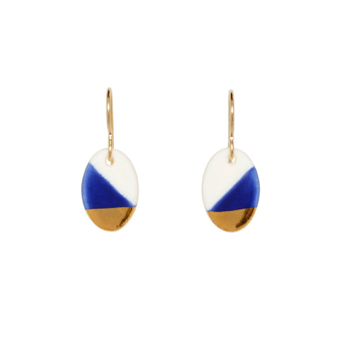 oval dangle earrings in blue