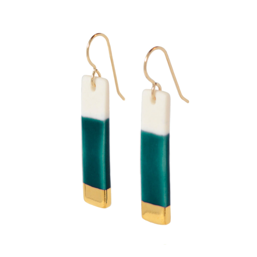 bar earrrings in teal - ASH Jewelry Studio - 1