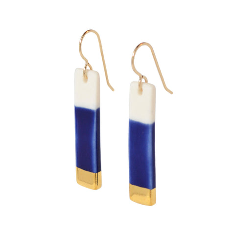 bar earrings in royal blue