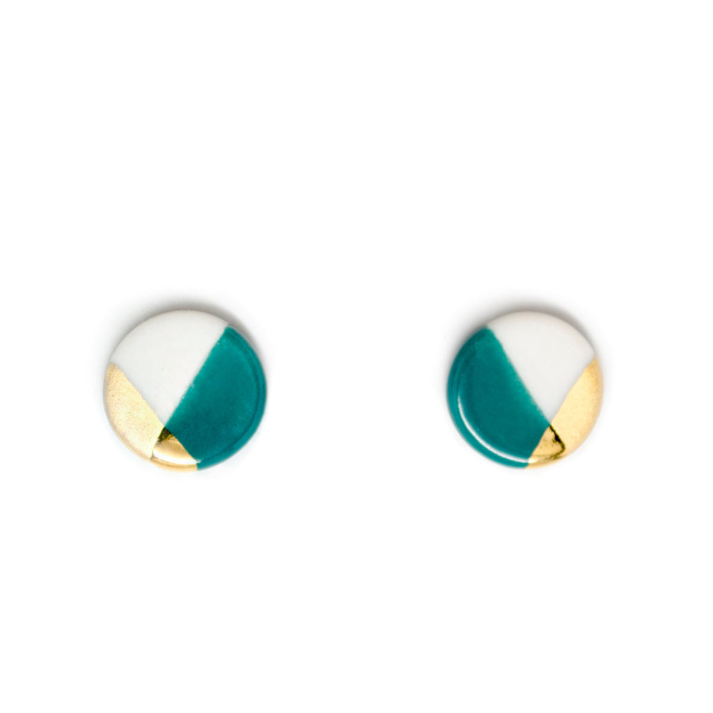 petite circle studs in teal - ASH Jewelry Studio - 1
