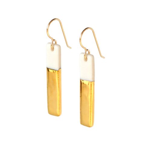 skinny gold bar earrings