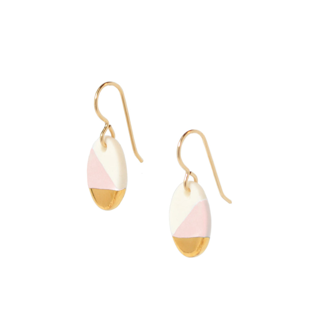 small oval dangle earrings in pink - ASH Jewelry Studio - 1