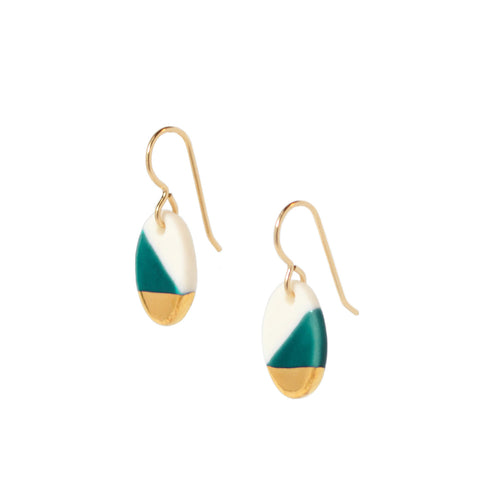 oval dangle earrings in teal