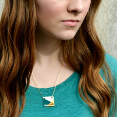 square necklace in teal and gold - ASH Jewelry Studio - 3