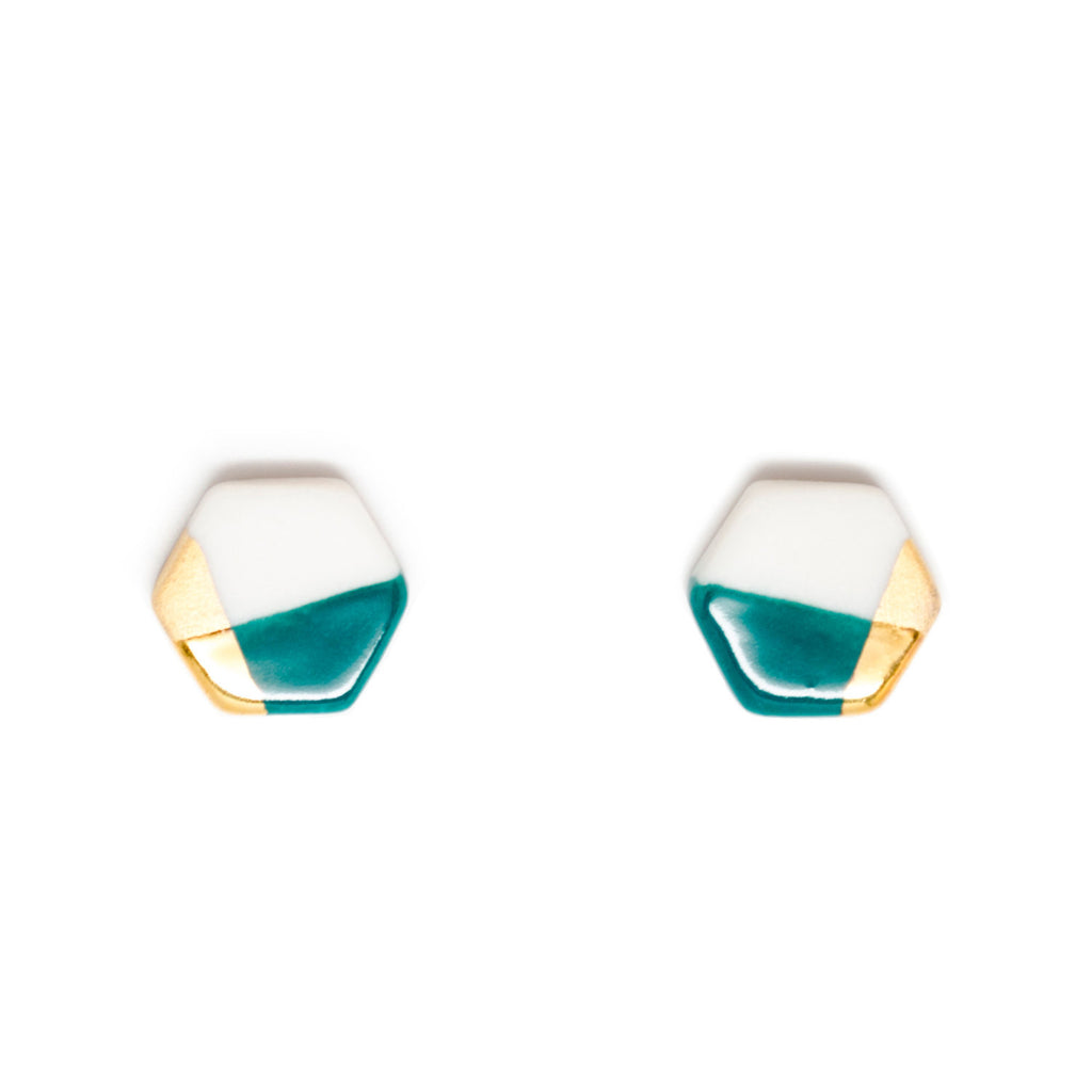 petite hexagon studs in teal - ASH Jewelry Studio - 1