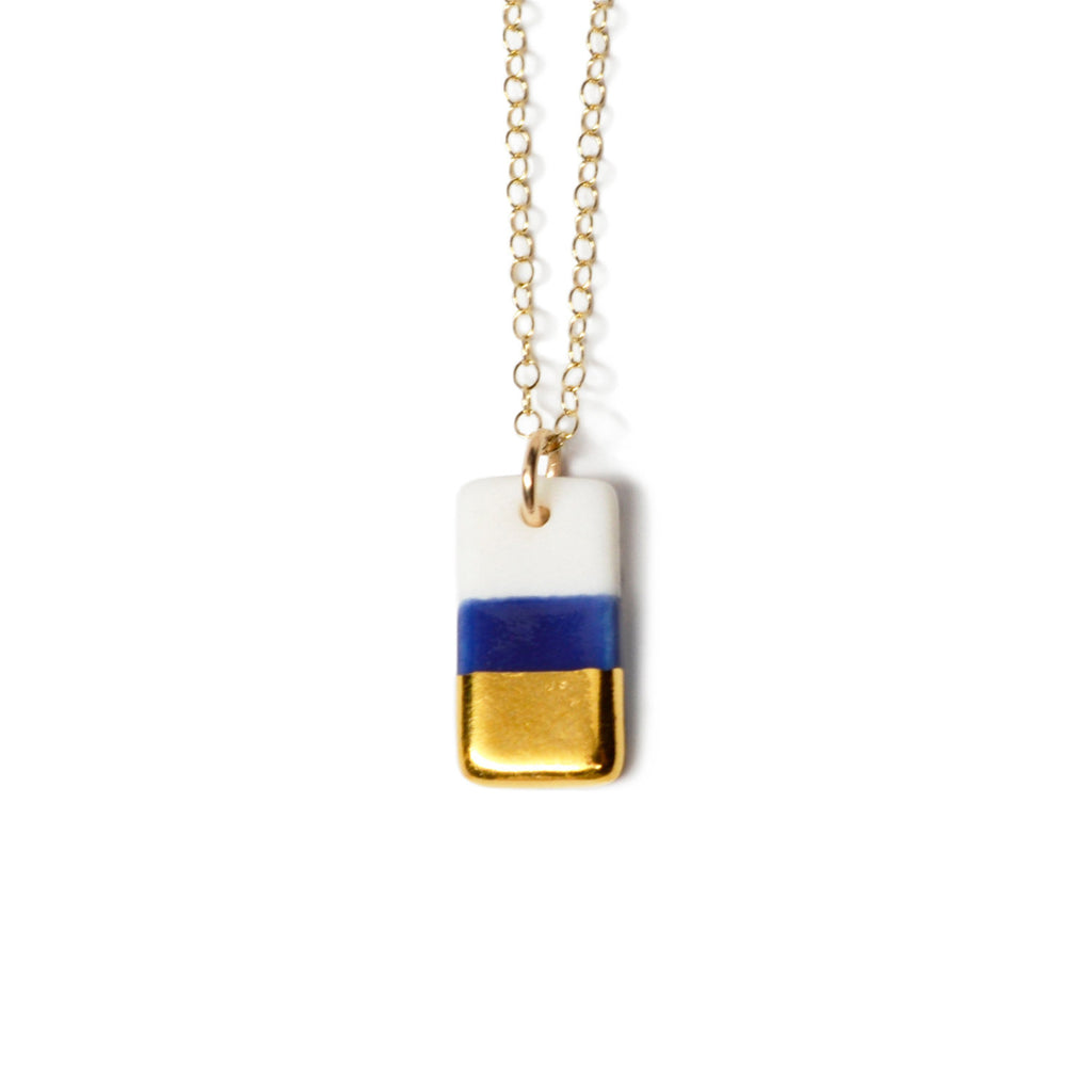 tiny royal blue rectangle necklace - ASH Jewelry Studio - 1