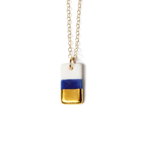 tiny royal blue rectangle necklace