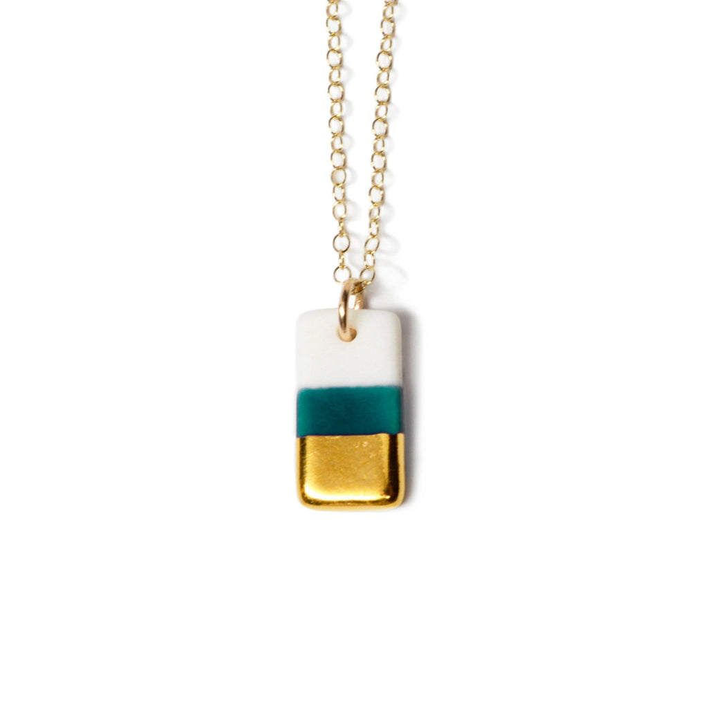 tiny teal rectangle necklace - ASH Jewelry Studio - 1