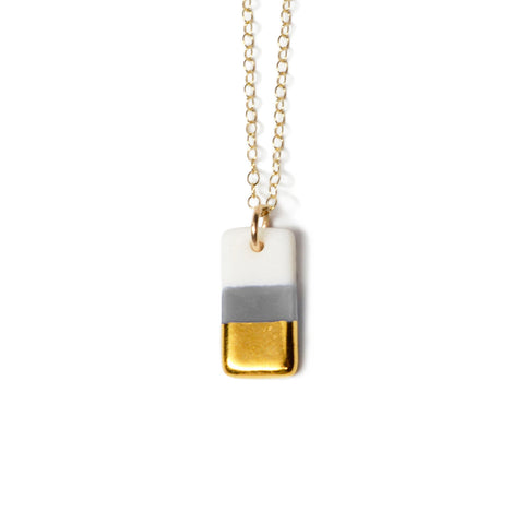 tiny gray rectangle necklace