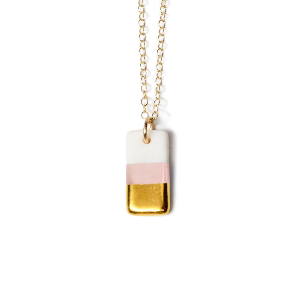 Tiny pink rectangle necklace - ASH Jewelry Studio - 1
