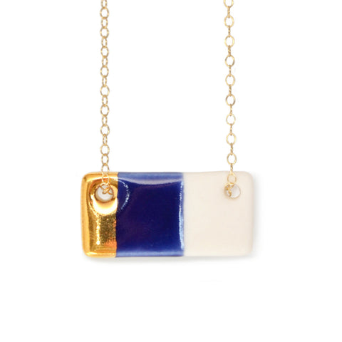 bar necklace in royal blue