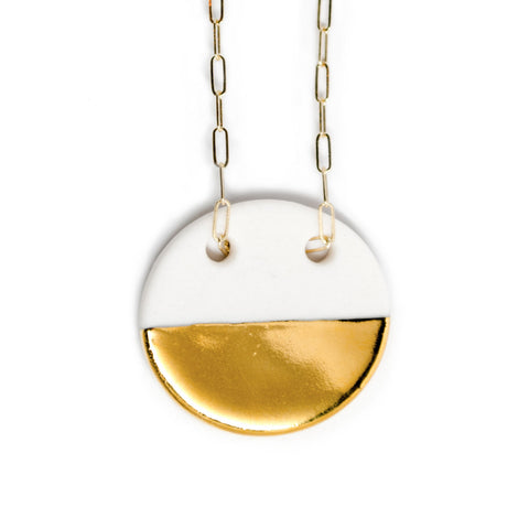 large circle necklace in gold