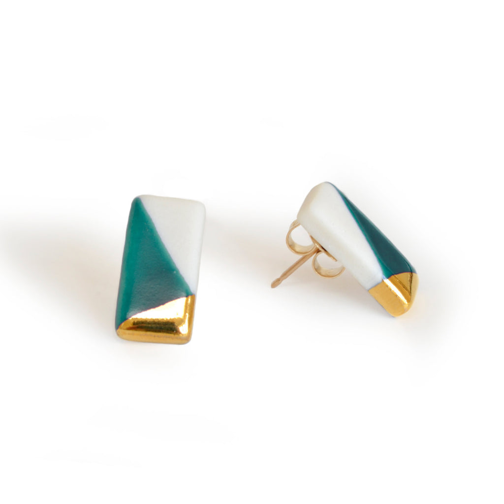 petite rectangle studs in teal - ASH Jewelry Studio - 1