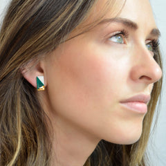 petite rectangle studs in teal - ASH Jewelry Studio - 4